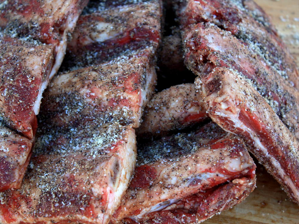 Beef Back Ribs, Seasoned Well And Waiting To Go Into The Smoker