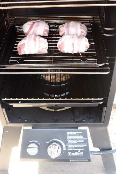 Thighs Cooking in a Char-Broil Gas Smoker