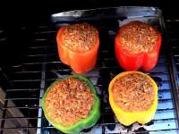 Four Uncooked Stuffed Peppers, Just Placed Into The Char-Broil Propane Smoker