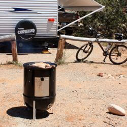 Cooking Sand Flats Smoked Chicken At My RV Camping Spot