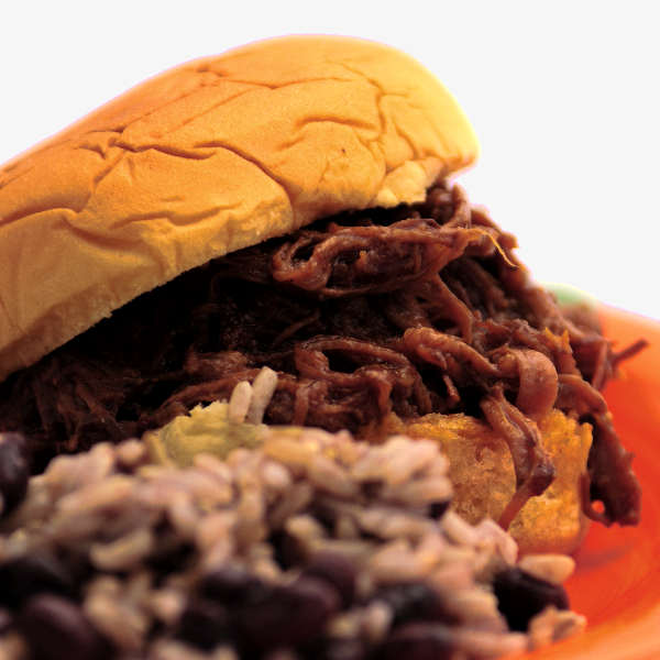 BBQ Beef Sandwich Made Up Of Pulled, Smoked Chuck Roast