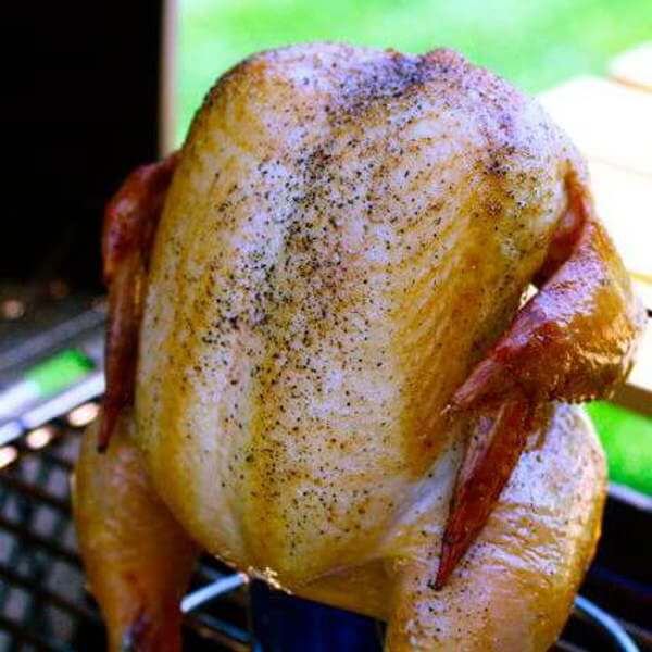 Beer Can Chicken Being Grill Smoked