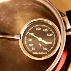 Grill Thermometer Being Tested For Accuracy In Boiling Water