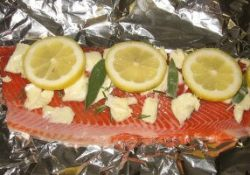 Salmon Fillet Prepared For the Grill or Smoker, Seasoned With Herbs and Lemon Slices