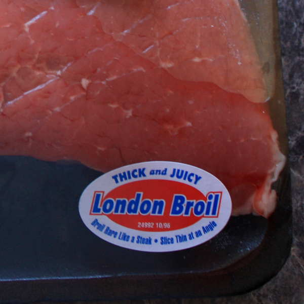 Raw Top Round Roast, Labeled For Cooking London Broil Style