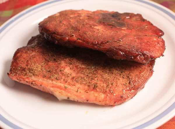 Beautifully Smoked Pork Loin Chops, Nicely Browned With Hickory Smoke