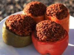 Four Sweet Bell Peppers, Red, Yellow, Orange and Green, Filled With Seasoned Ground Beef Mixture And Cooked In The Smoker