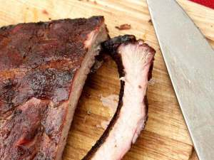 Smoked Baby Back Ribs on a Bamboo Cutting Board