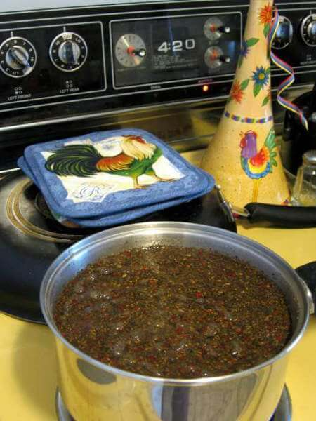 Simmering Chicken Brine Ingredients on Stove Top