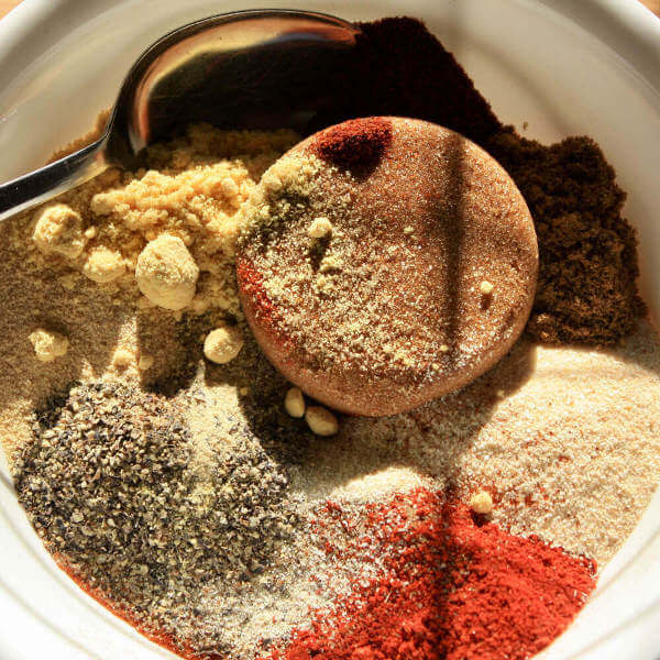 Memphis Rib Rub Ingredients In Bowl With Spoon, Before Mixing