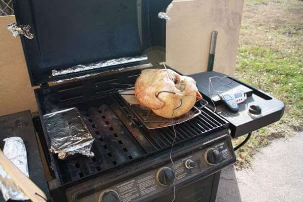 Smoking a Turkey In My Propane Grill. Turkey Is Currently Positioned Breast Side Down