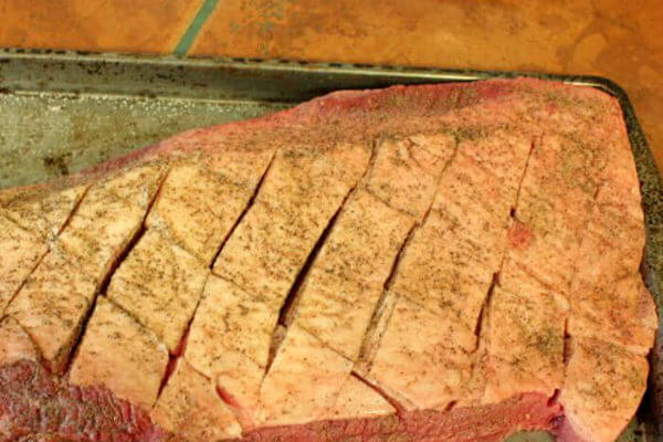 Whole Brisket, Fat is Scored, Dry Rub is Applied