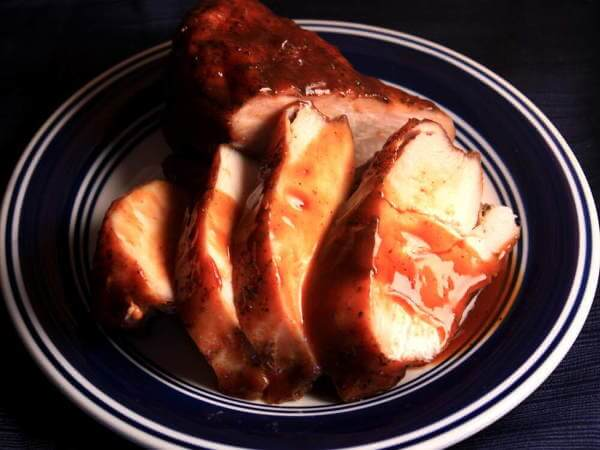 Smoked Chicken Breast, Sliced and Served on Blue-Banded Plate