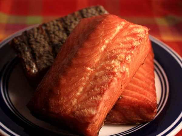 Three Salmon Fillet Sections, Smoked, On Serving Plate
