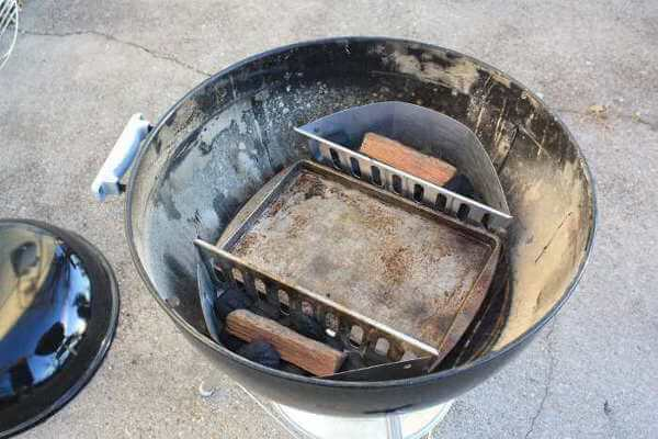 Setting Up a Weber Kettle Grill For Indirect Grilling Method, Two Charcoal Baskets On Sides and Drip Pan In The Center
