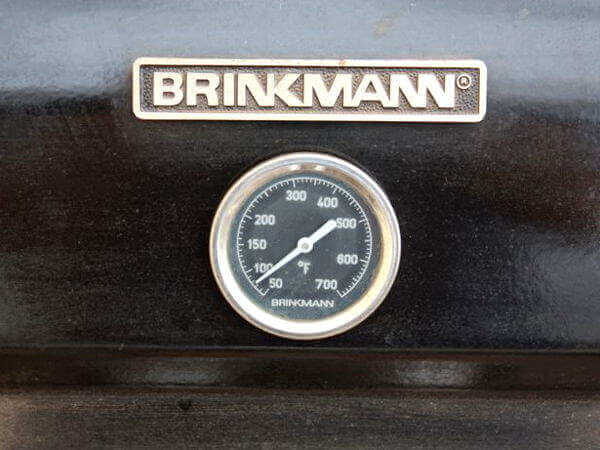 Grill Thermometer Mounted On a Brinkmann Propane Grill Lid
