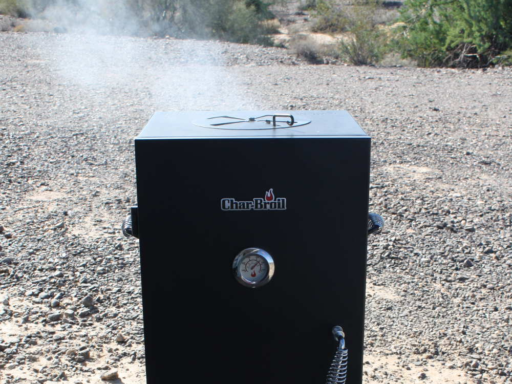 Char Broil Propane Smoker Blowing Smoke in the Quartzsite Arizona Desert