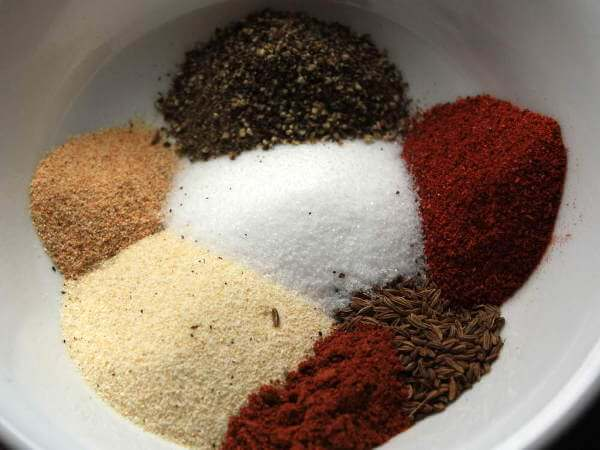Bowl of Rib Rub Ingredients, Including Sugar, Salt, Black Pepper and Paprika In Bowl