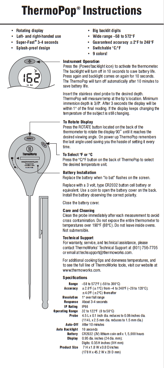ThermoWorks ThermoPop Handheld Thermometer User Instruction and Technical Details