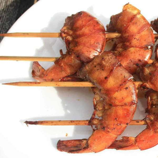 Shrimp Kabobs Using Pairs of Bamboo Skewers