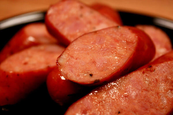 Juicy Homemade Andouille Sausages, Sliced, Showing Interior Structure
