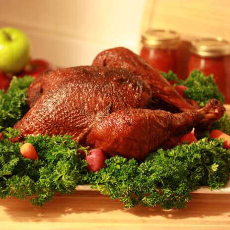 A Whole, Smoked Thanksgiving Turkey, Resting After Being Cooked In The Smoker