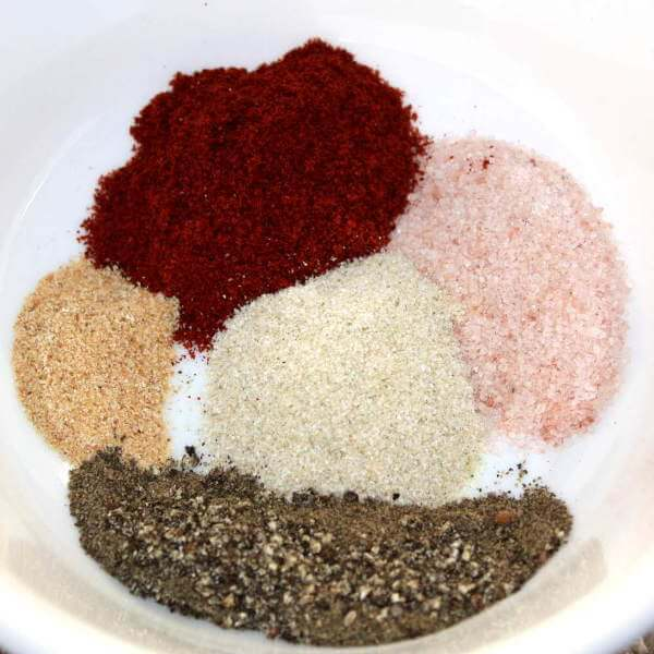 Dry Rub Ingredients For Beef Cross Rib Roast Recipe, In White Bowl, Before Mixing