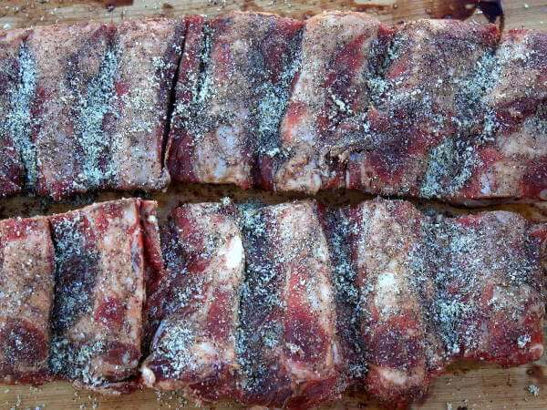 Two Slabs of Back Ribs, Seasoned With a Spicy Dry Rub Mixture