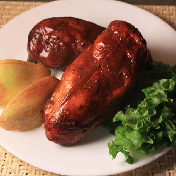 Brined Chicken Breasts, Smoked And Plated With Green Leaf Lettuce and Apple Wedges