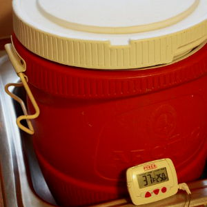 Brine Temperature Is At 37°F In This Insulated Water Cooler I Use For Brining Turkeys