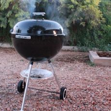 Weber Charcoal Kettle Grill, Lid On, Cooking a Chicken