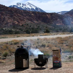 Using My Charcoal Chimney At Ken's Lake Campground, Near Moab, Utah. The La Sal Mountains in Background