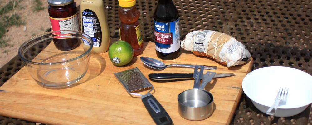 Getting Ready To Make Ham Glaze. Ingredients and Utensils At The Ready On a Bamboo Cutting Board