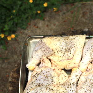 These Raw, Seasoned Chicken Leg Quarters Are Destined For My Vertical Water Smoker