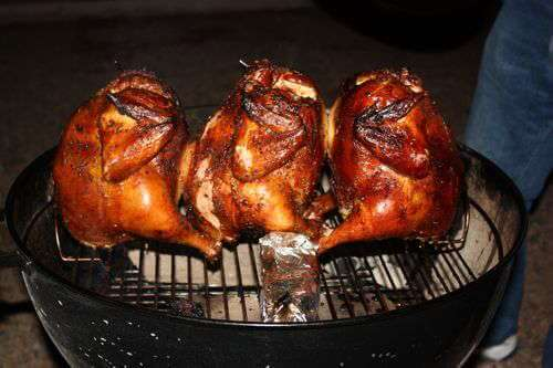 Three Browned, Grill Smoked Chickens on a Weber Kettle Grill. Time to Eat!