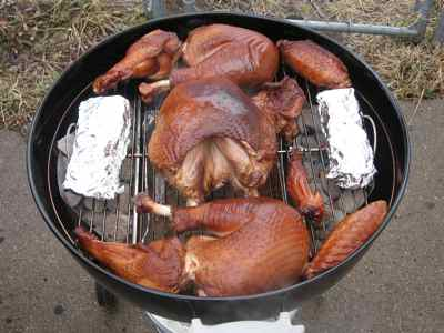 Charcoal Grilled Turkey Nicely Browned
