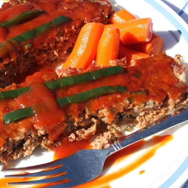 Smoked Poblano Meatloaf on a Plate
