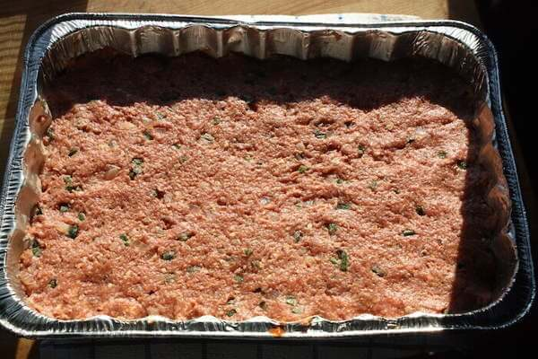 Meatloaf Poblano In Pan, Ready For the Smoker!