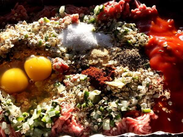 Meatloaf Poblano Ingredients In an Aluminum Pan
