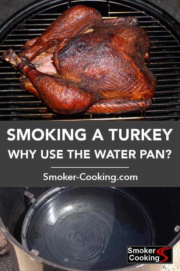 Whole Turkey In Weber Smoker, With Smoker Water Pan Pictured at Bottom