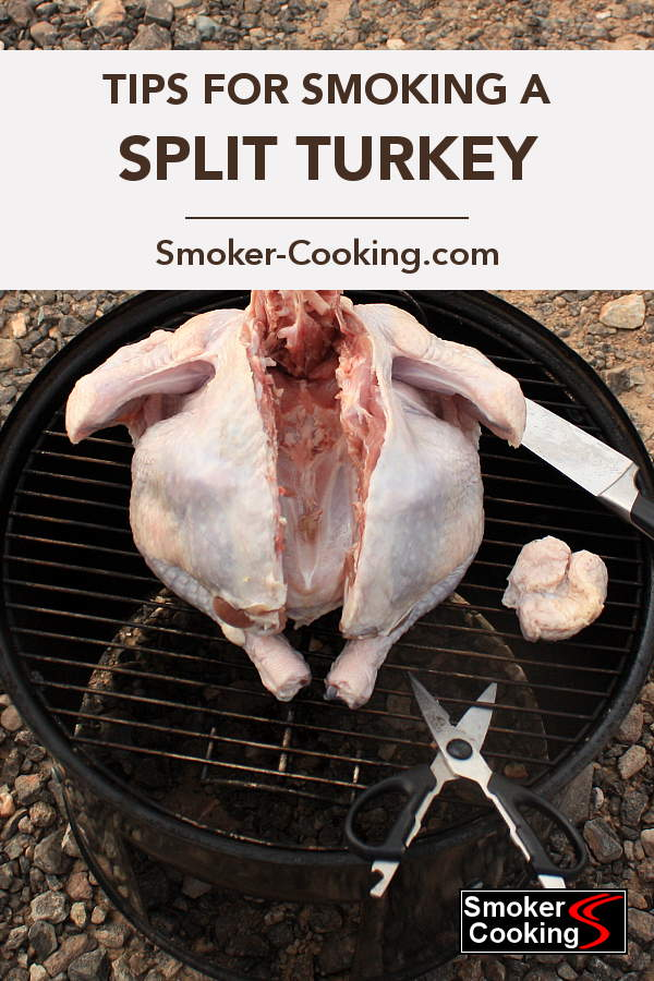 This Whole Turkey On The Top Grate Of a Weber Smoker Is Being Divided Into Halves