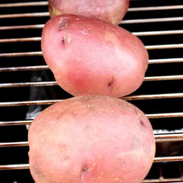 Whole Red Potatoes On Smoker Grate