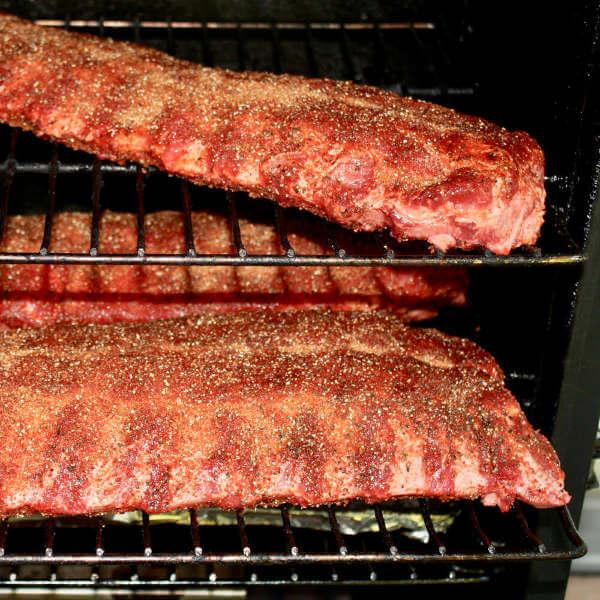 Three Slab of Pork Baby Back Ribs Going Into the Masterbuilt Smoker