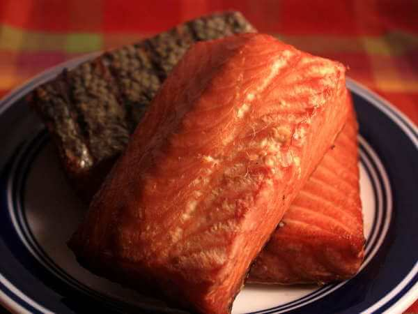 Lightly Smoked Atlantic Salmon Fillets On Plate