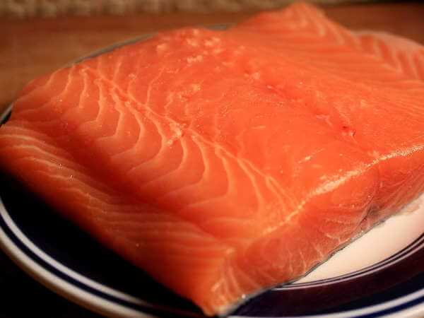 Fillet Section of an Atlantic Salmon On a Blue-Rimmed White Dish