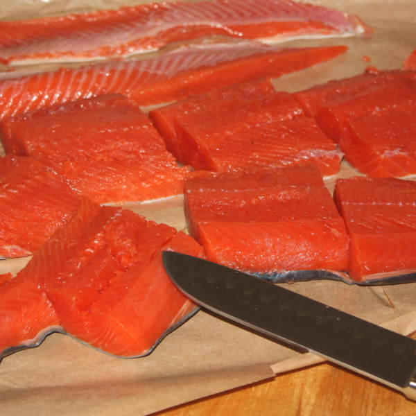 Sections of Raw Salmon Fillet, Ready for Brining