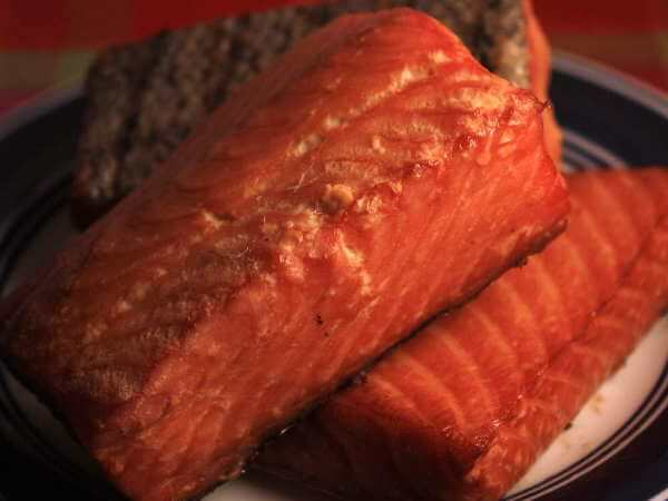 Smoked Salmon Fillets On Plate, Prepared With The Wet Brining Method