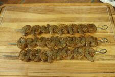 Spicy Seasoned Shrimp, Now On Metal Skewers, Ready For Grilling