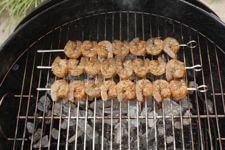 Beautiful Skewered Seasoned Shrimp On Weber Grill