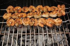 Grill Smoked Shrimp, Ready To Remove From Grill